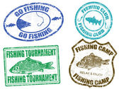 Set di timbri di pesca — Vettoriale Stock