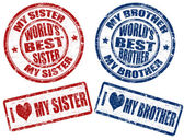 Best sister and brother stamps — Stock Vector