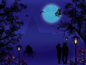 Silhouettes of lovers on city park — Vector de stock
