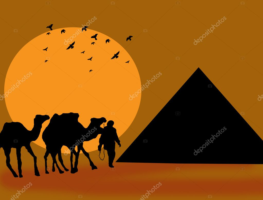 Symbol Egypt&#039;s - pyramid, camel and sunset, background illustration  Stock Vector #10621033