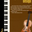 Poster with piano and violin — Vector de stock