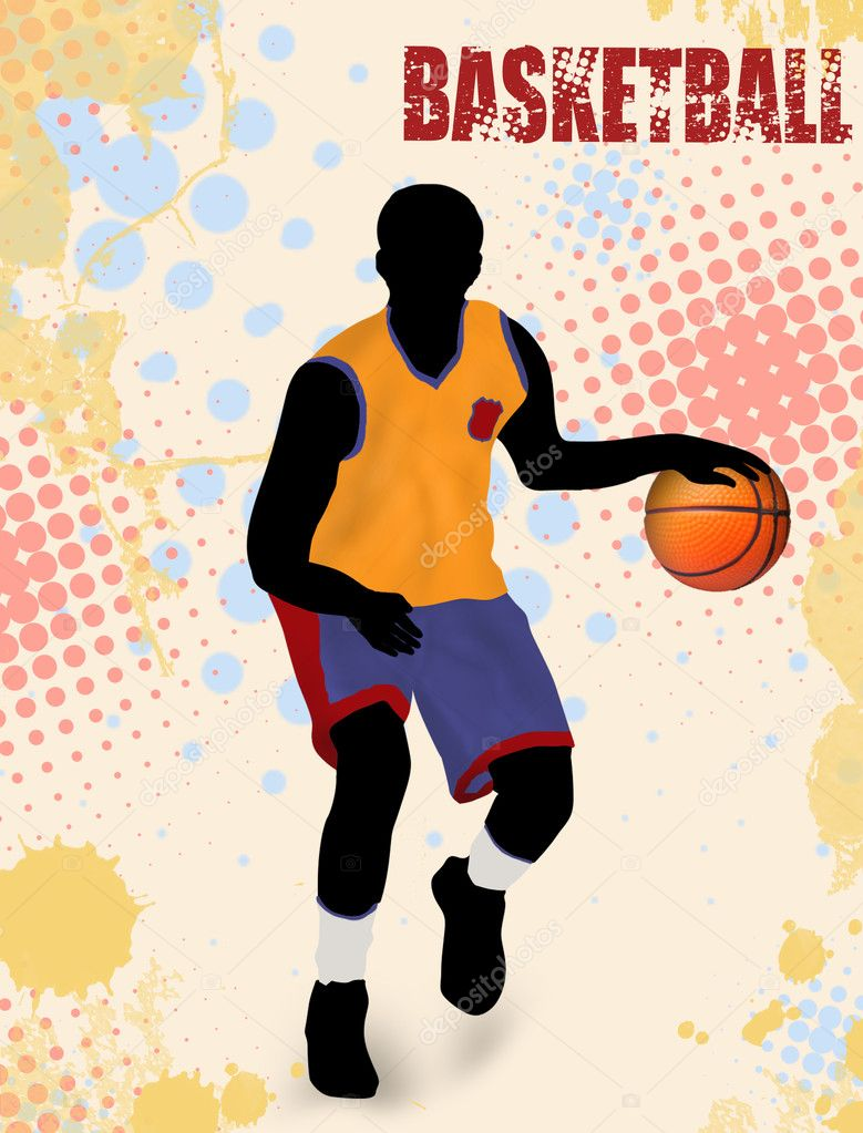 Basketball poster background with player silhouette , vector illustration — Stock Vector #8080234