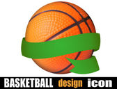 Basketball ball with a ribbon — Stockvektor