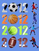 新年快乐 2012年体育概念 — 图库矢量图片