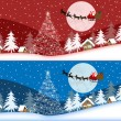 Red and blue christmas banners - Stock Vector
