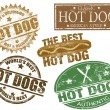 Hot dog stamps — Vettoriali Stock