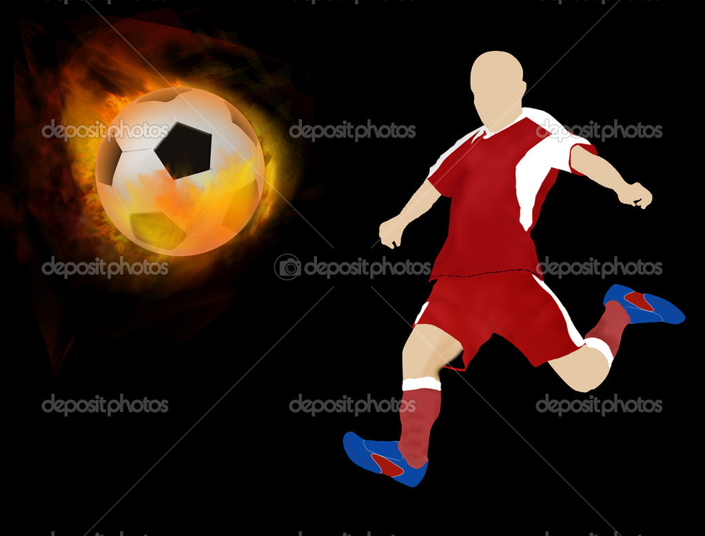 Soccer ball on fire with player silhouette, vector illustration — Stock Vector #8375041