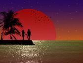 Gece adada iki sevgili — Stok fotoğraf