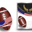 Stock Vector: American football ball and web icon