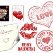 Stock Vector: Valentine stamps and symbol