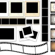 Instant photo frames and film strip — Stock Vector