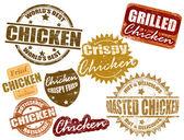набор марки курица — Cтоковый вектор