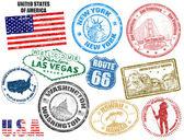 Sellos con los estados unidos de américa — Vector de stock