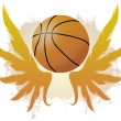 Winged basketball ball — Stock Vector