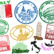 Stamps with Italy - Stock Vector