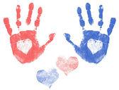 Love handprints — Stock Vector