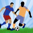 Soccer player attack — Stockvectorbeeld