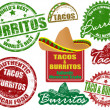 Tacos and burritos stamps — Stock Vector