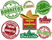 Tacos and burritos stamps — 图库矢量图片