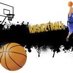 Grunge basketball poster — Stock Vector