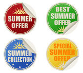 Best summer offers stickers set — Stock Vector