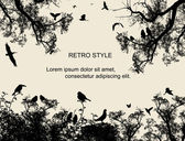 Birds and trees on retro style background — Vecteur