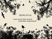 Pájaros y árboles sobre fondo de estilo retro — Vector de stock