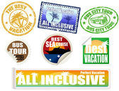 Set of vacation labels and stamps — Stock Vector