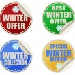 Best winter offers stickers set — Stock Vector