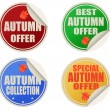 Best autumn offers stickers set — Stock Vector
