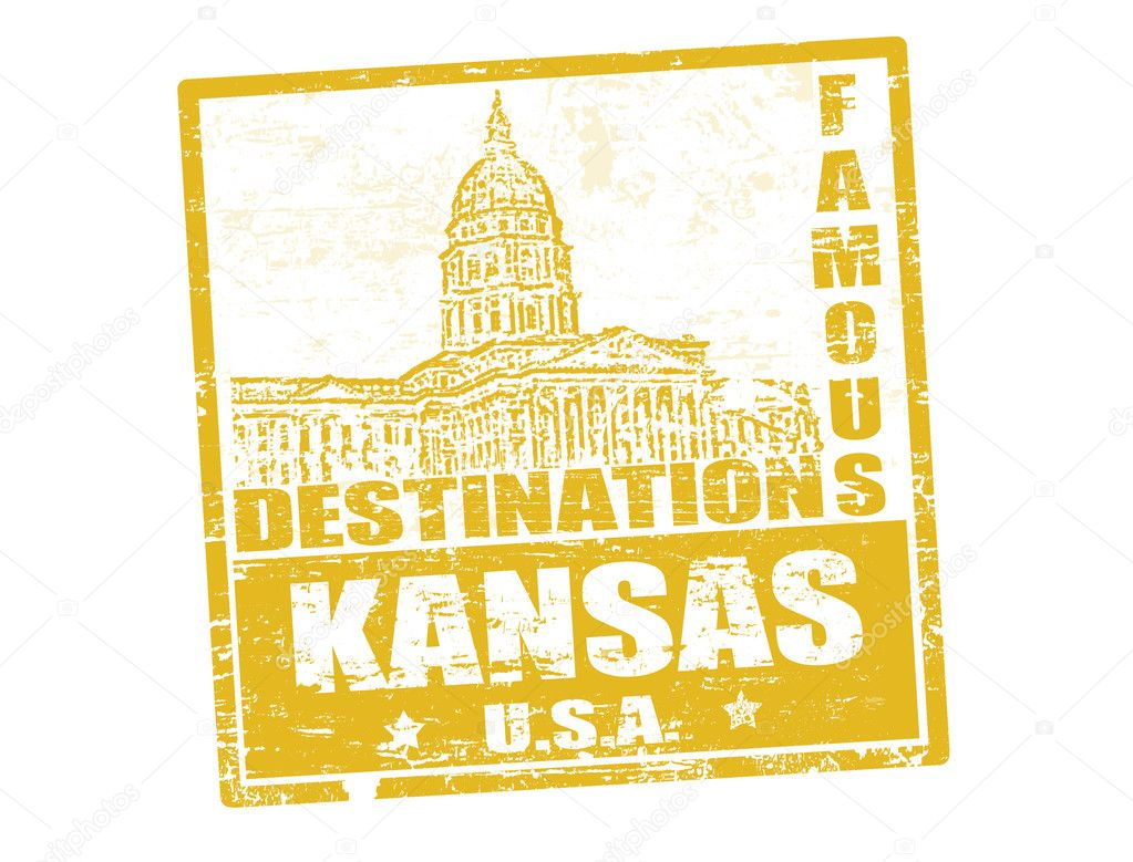 Grunge rubber stamp with the text famous destinations Kansas, vector illustration — Stock Vector #9995091