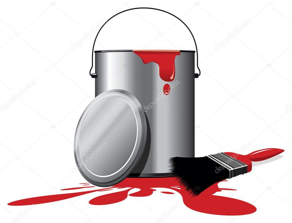 Rode verf pot stockfoto jameschipper 8067650 - Maken rode verf ...