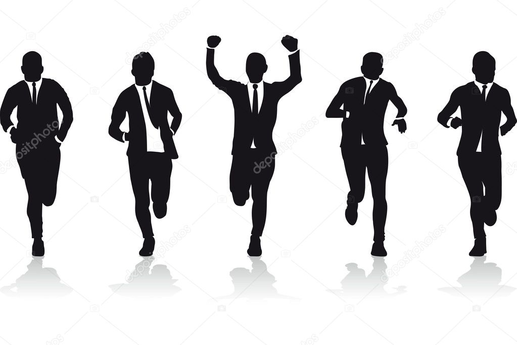 Running Man In Suit Silhouette Business men running