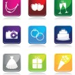 Wedding icon set — Stock Vector #9590732