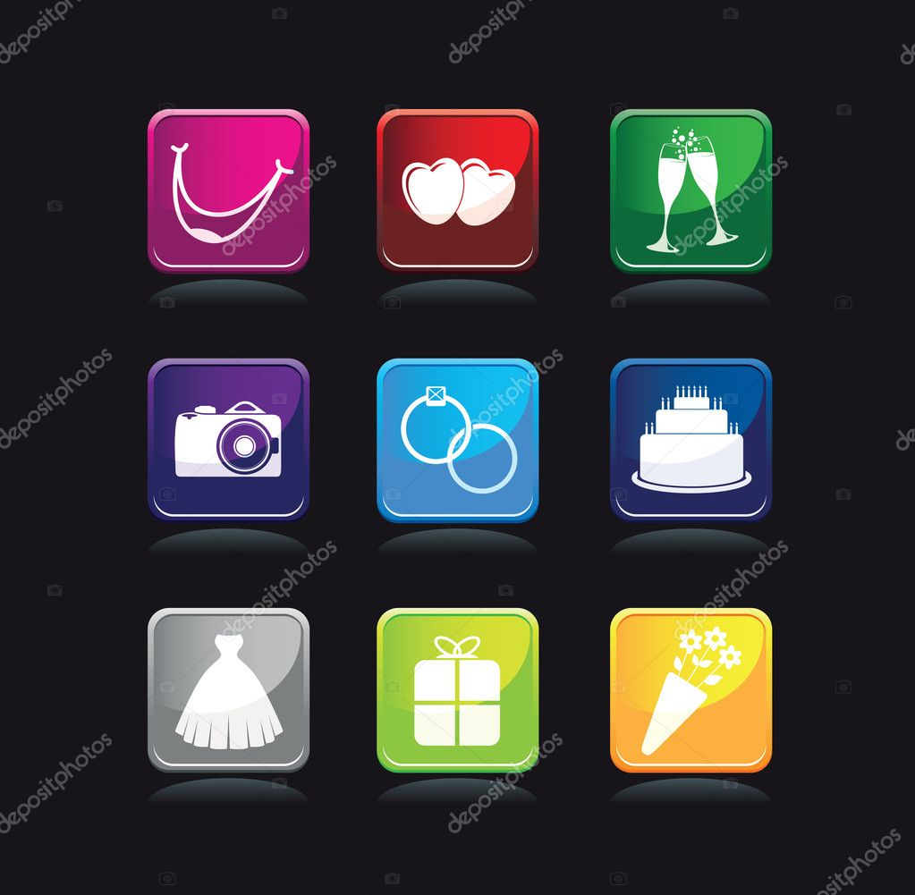 Wedding icon set — Stock Vector #9590725