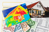 Energy savings. house with thermal imaging camera — Stock Photo