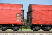 Freight train on rails — Stock Photo