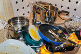 Cluttered kitchen — Stock Photo