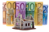 Euro bank notes with shell building — Stock Photo