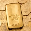 Investment in real gold than gold bullion and goldm - Stock Photo