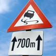Traffic sign skidding - Stok fotoraf