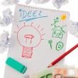 Incidence and ideas with light bulb. symbol on a z — Stock Photo