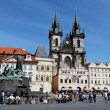 Prague, old town square, tyn church — Stock Photo #10425955
