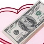 U.s. dollars bills in a heart — Stock Photo