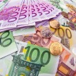 Stock Photo: Many euro banknotes
