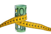 Icon austerity package with € bill and tape measure — Stock Photo