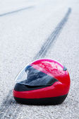 Accident with a motorcycle. traffic accidents with skid marks — Stock Photo