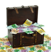Chest with euro banknotes. financial crisis, crisis training — Stock Photo