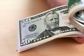 Dollar currency notes are counted — Stock Photo