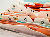 Alphabetical index cards. customer data in abc — Stock Photo